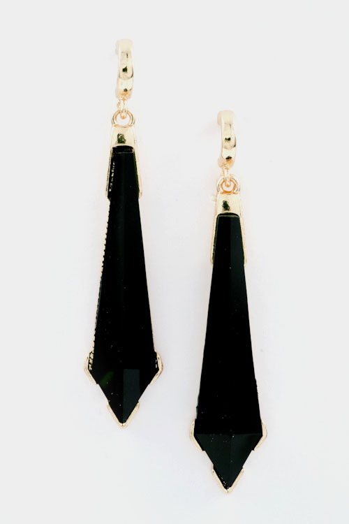 Faceted Precious Icicle Stone Dangle Earring