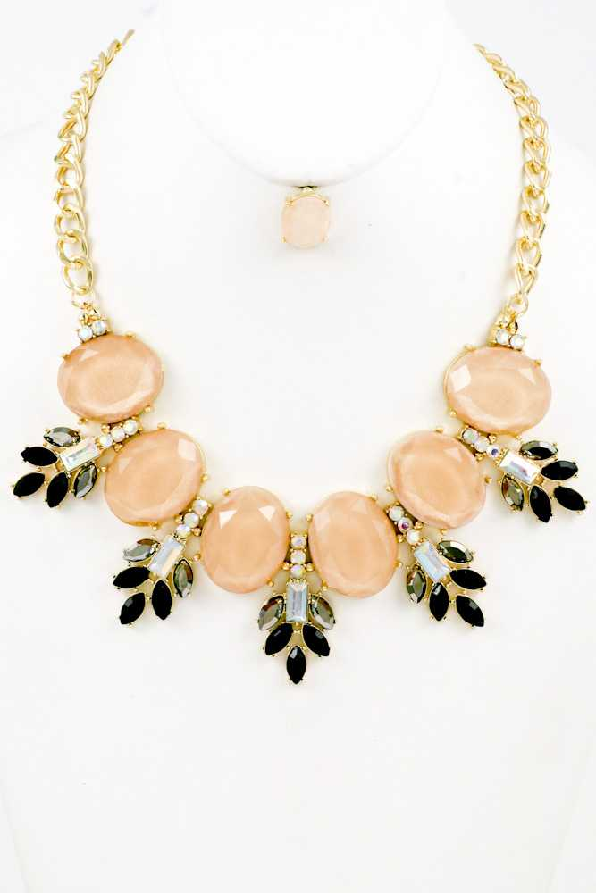 Faceted Oval Stone with Floral Crystal Statement Necklace Set
