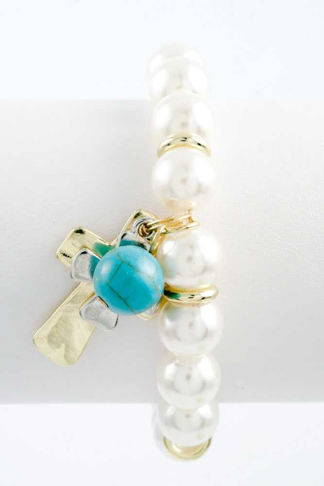 pearl with cross turquoise charm stretch bracelet