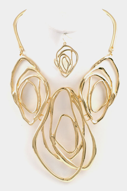 Hammered Angular Multi Oval Necklace Set