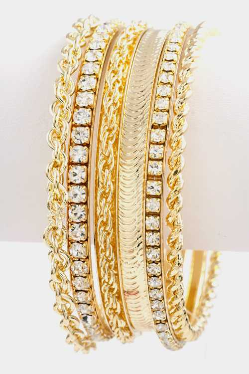 Cable Chain with Rhinestone Textured Bangle