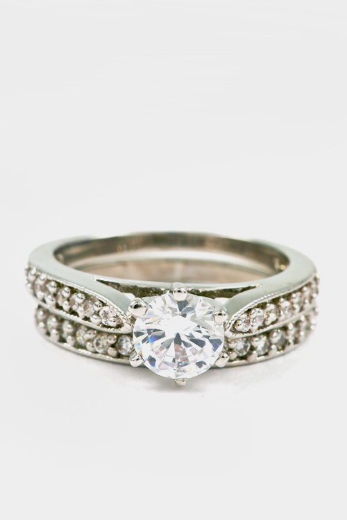 CZ Round Cut Solitaire Ring and Band