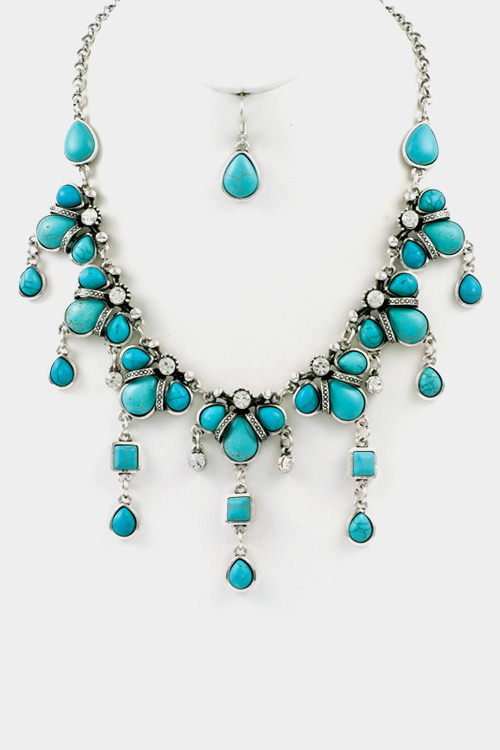 Turquoise Drop with Crystal Necklace Set