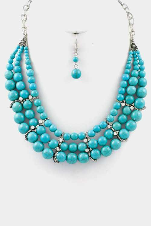 Turquoise 3Row with Crystal Accent Necklace Set