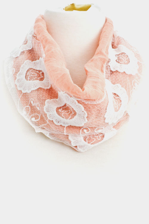 Flowers Lace Accent Infinity Scarf