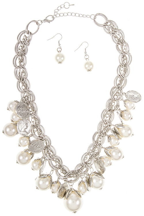 Chain with Pearl Coin Charm Dangle Necklace Set