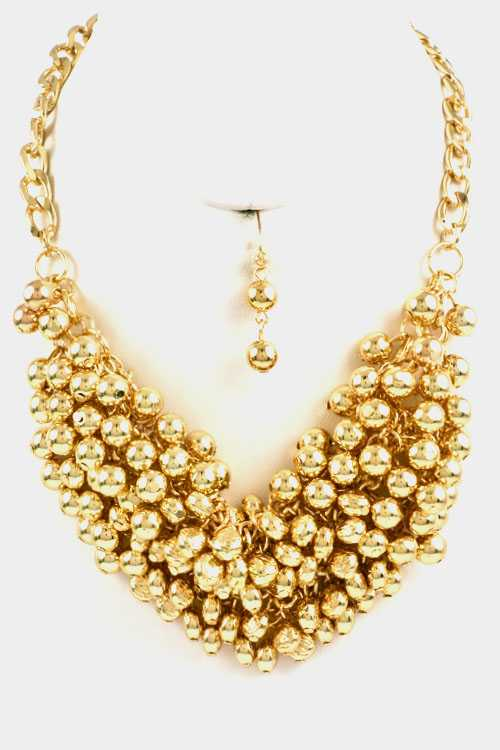 Ball Cluster Necklace Set