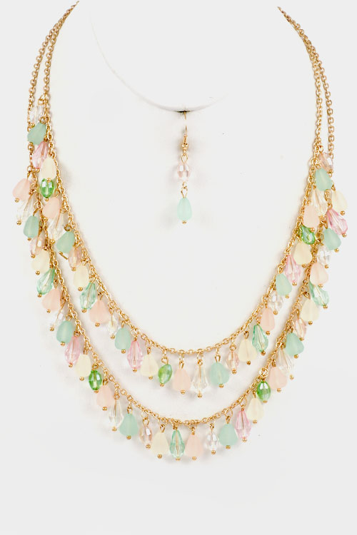 Crystal Drop Dangle  Double Layered Necklace Set