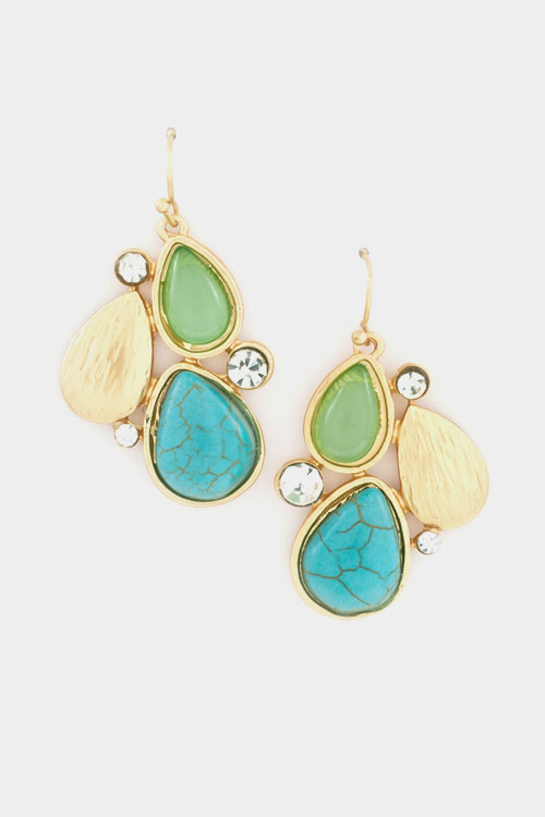 Blushed Metal and Tear Drop Gem Stone Crystal Accent Earring