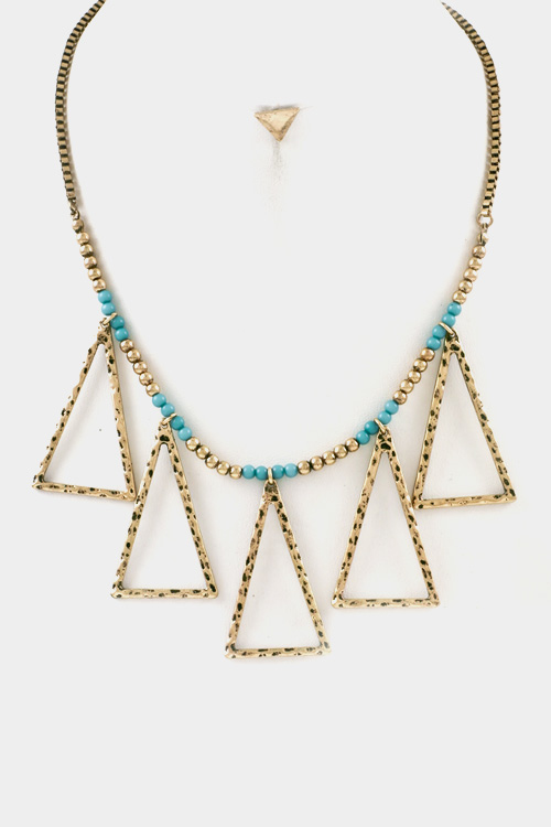 Tribal Hammered Triangle Dangle Beads Necklace Set