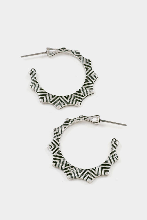 Aztec Textured Spiked Hoop Earring