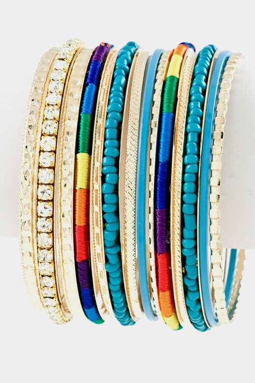 Rhinestone and Beads Textured Multi Cord 14pcs Bangle