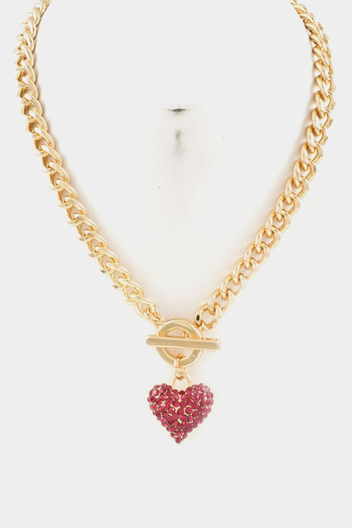 Chain with Heart Rhinestone Toggle Closure Necklace