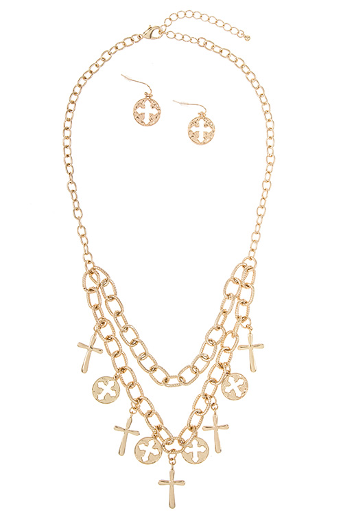Multi Mix Cross Dangle Link Pendant Layered Chain Necklace Set