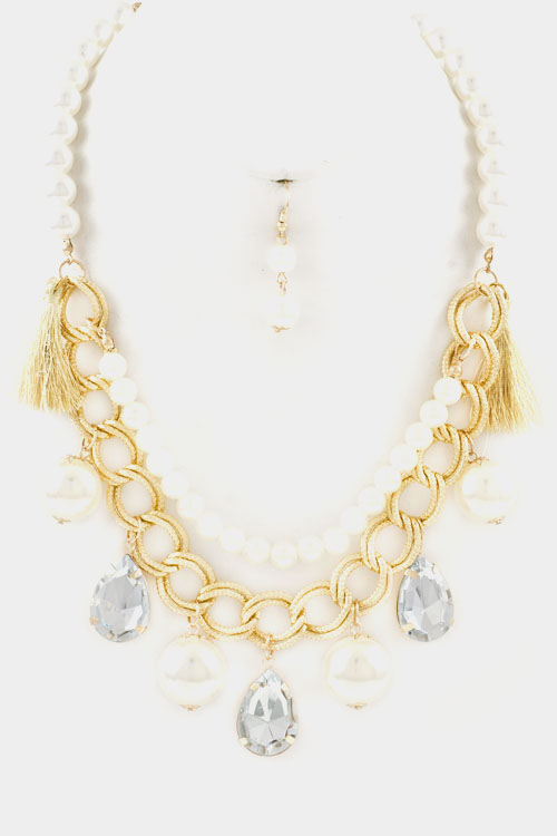 Double Layered Chain and Pearl with Tear Drop Crystal Necklace S
