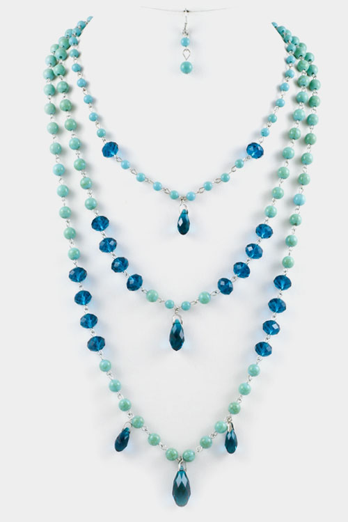 Gem Stone and Crystal Triple Layered Necklace Set