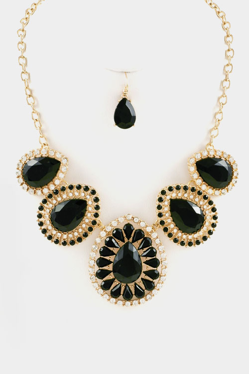 Tear Drop with Crystal Floral Bib Necklace Set