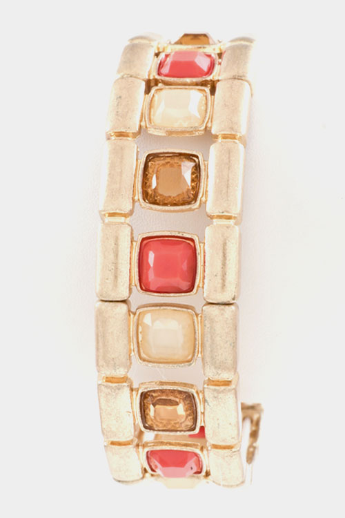 Colored Faceted Square Stone Stretch Bracelet