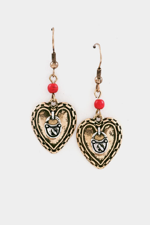 Heart Texture with Beads and Message Dangle Earring