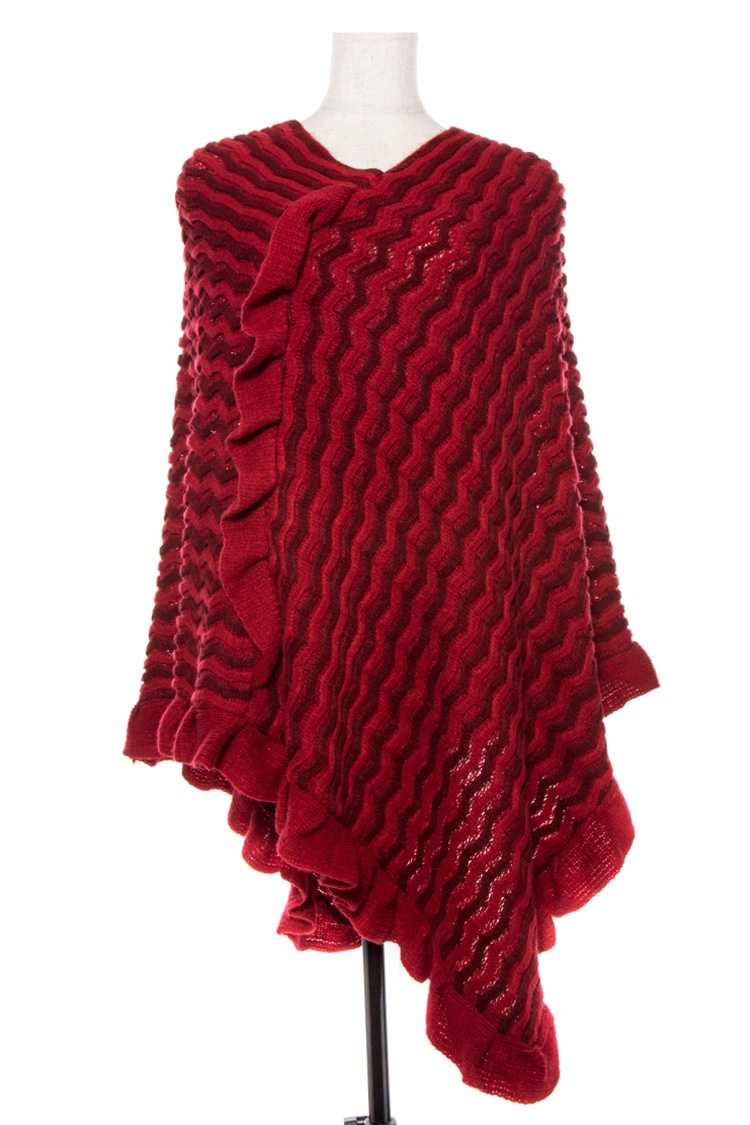 Knit Pattern Frill Accent Edge Poncho