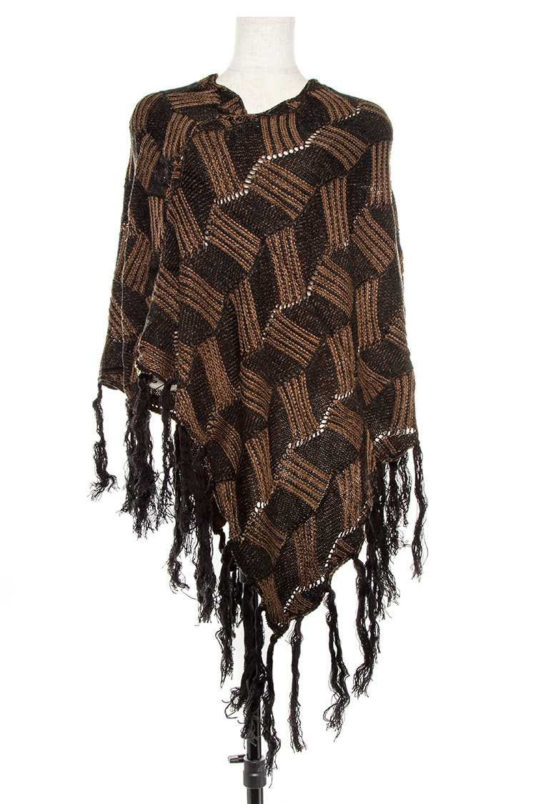 Line Pattern Two Tone Open Knit Fringed Poncho