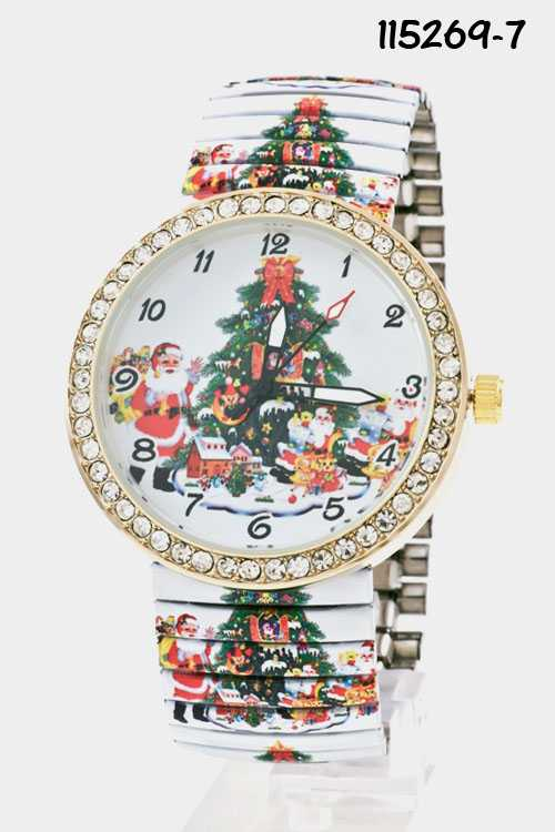 Christmas Tree Print Round Face Rhinestone Lined Stretch Band Wa