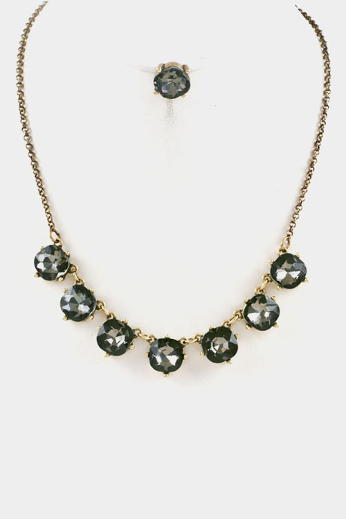 Faceted Round Square Glass Stone Station Necklace Set