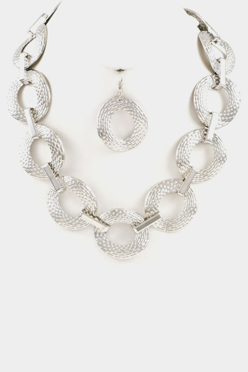 Texture Circle Linked Necklace Set