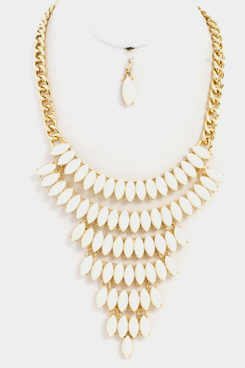 Acrylic Stone Stairs Bib Necklace Set