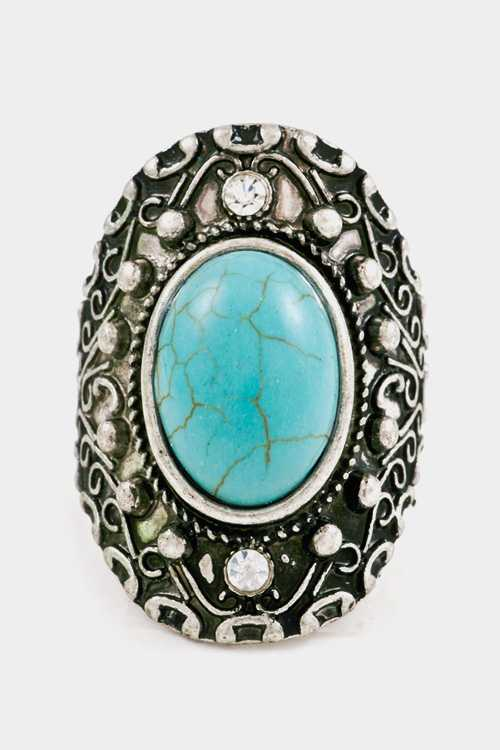 Oval Turquoise with Texture Framed Adjustable Ring