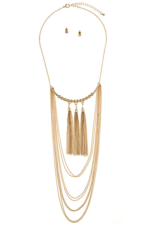 Multi Chain Layered with Triple Tassel Accent Necklace Set