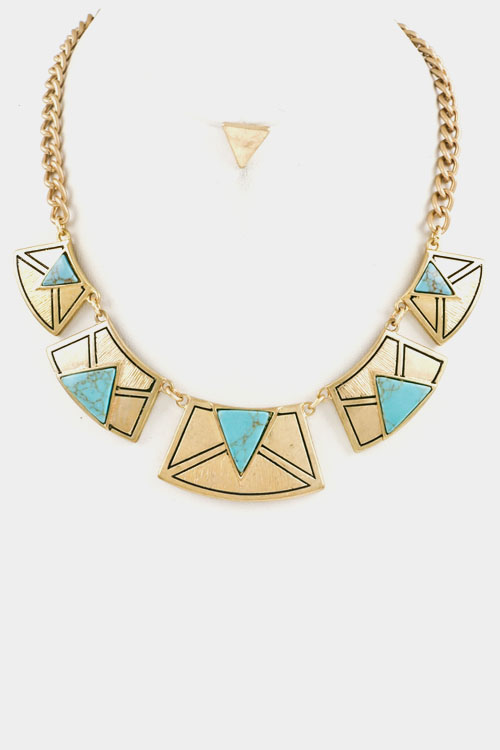 Triangle Accent Tribal Necklace Set
