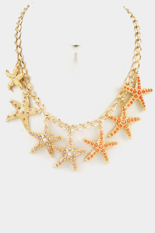 Star Fish Dangle and Stone Accent Chain Necklace