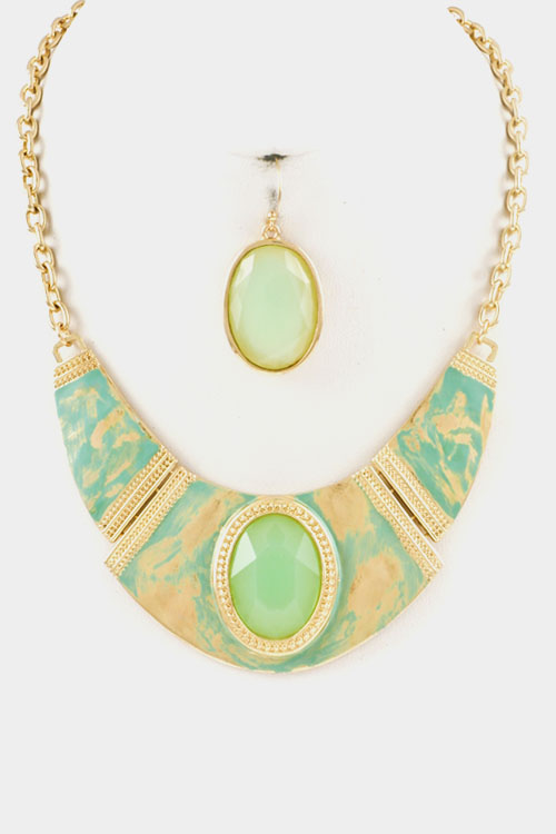 Semi Cleared Paint Oval Stone Accent Bib Necklace Set