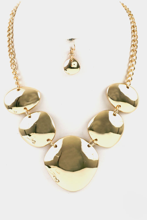 Shaped Metal Linked Necklace Set