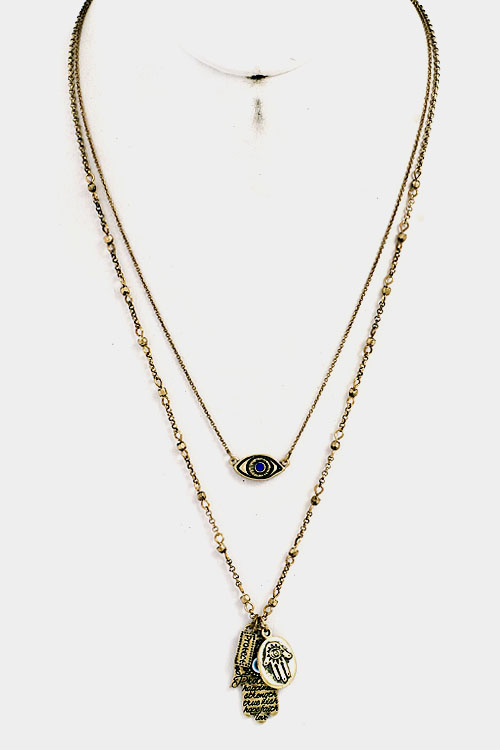 Evil Eye and Hamsa Pendant Double Layered Necklace