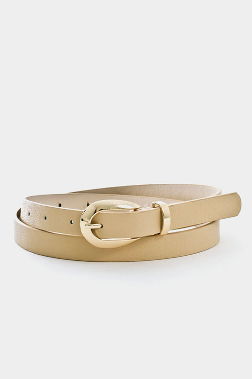 Round Buckle Leather Belt