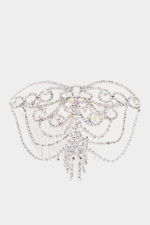 Big Accented Rhinestone Inserted Hair Comb Accessory