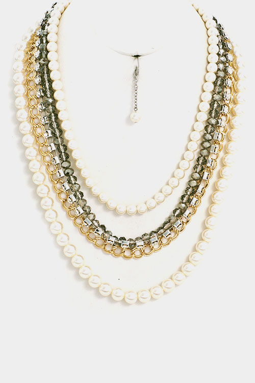 Pearl a Beaded Pave Accented  Rhinestone Necklace Set