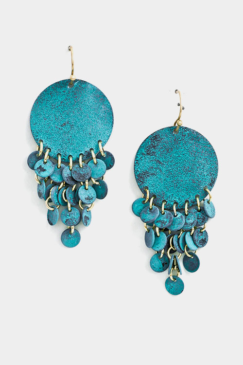 Round Linked Shiny Textured Dangle Earring