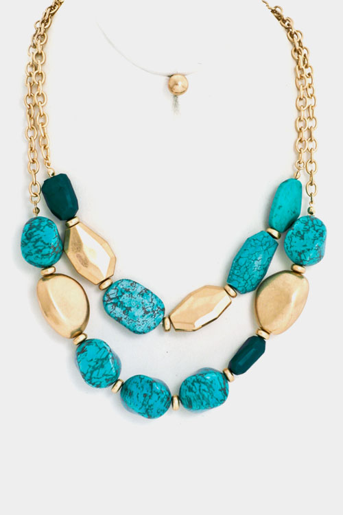 Big Opaque Layered Abstract Gemstone Bib Necklace Set