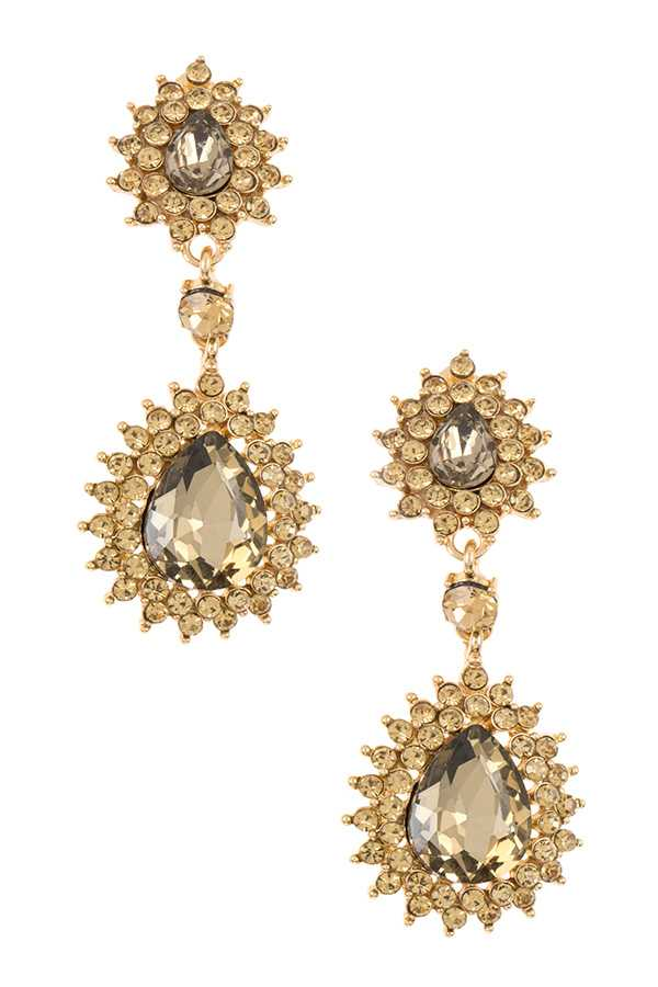 RHINESTONE SPIKE FRAMED DOUBLE DROP EARRING