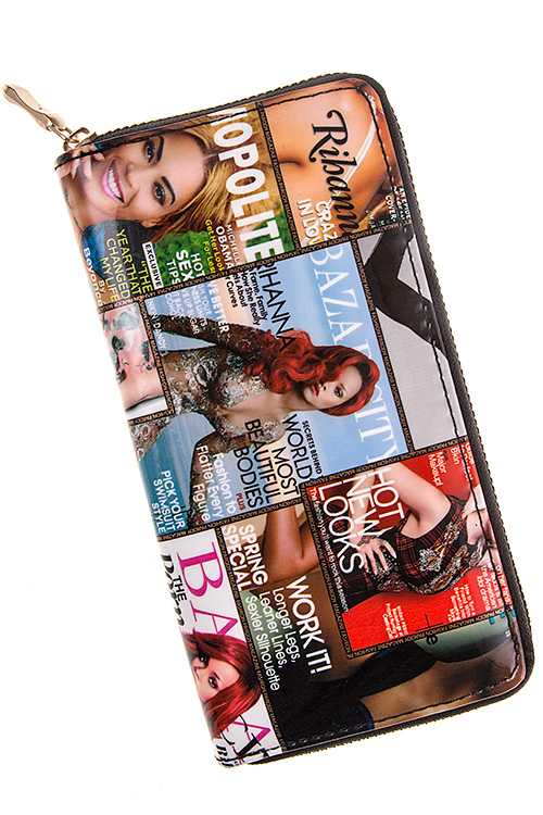 Fashionable Magazine Cover Patent Wallet