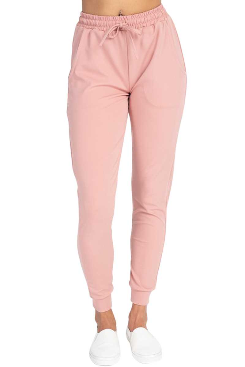 STRETCH SOLID JOGGER PANTS WITH DRAWSTRING