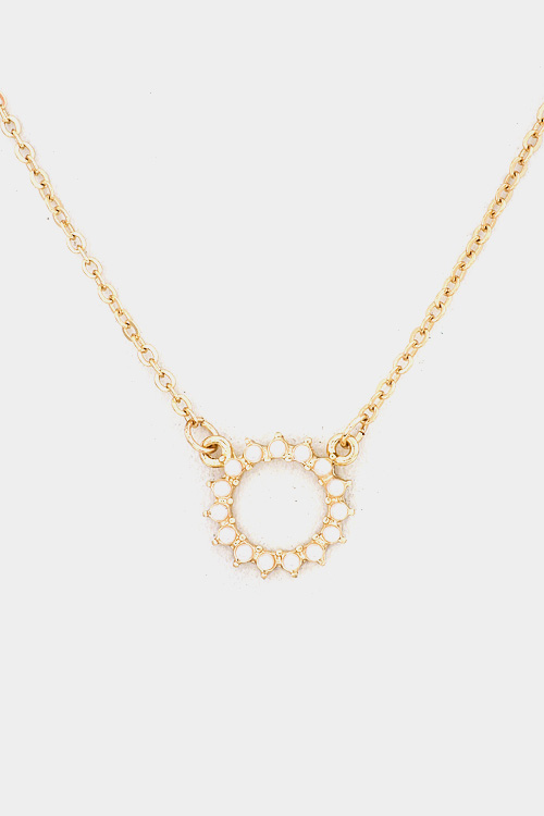 Classic Round Accent Pearl Pendant Ring Necklace