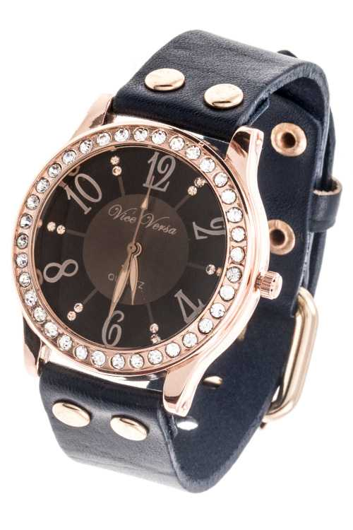LEATHER FAUX BAND RHINESTONE FRAMED TEMPLATE WATCH
