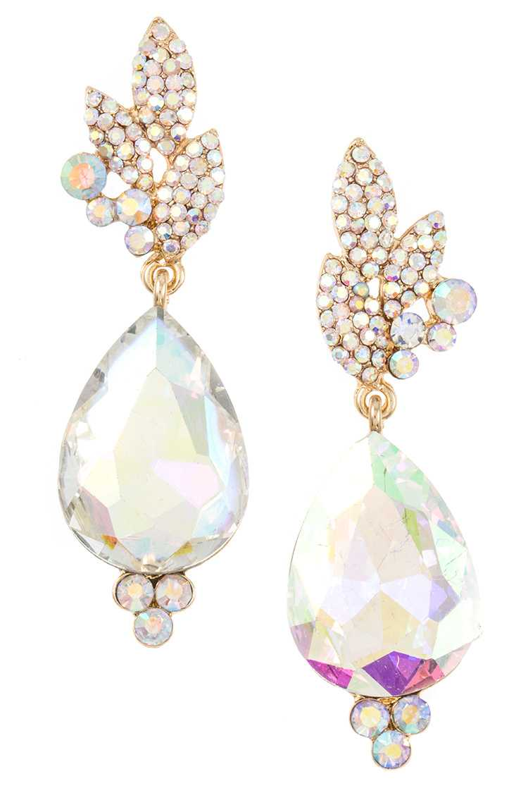 Faceted Gem and Rhinestone Pave Accent Evening Earring