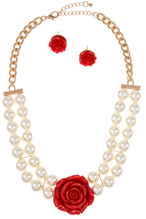 Double Row Big Pearl Strand Acrylic Rose Pendant Accent Necklace