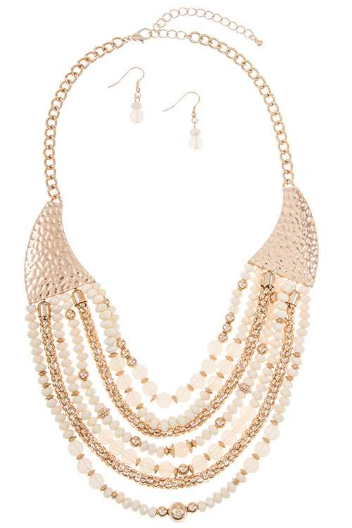 Hammed Metal Drop Layered Bead and Chain Bib Necklace Set