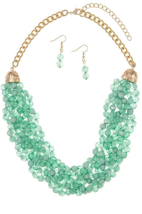 Braided Opaque Crystal Bead Accent Necklace Set